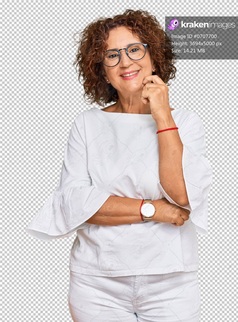 Beautiful middle age mature woman wearing casual clothes and glasses looking confident at the camera with smile with crossed arms and hand raised on chin. thinking positive.