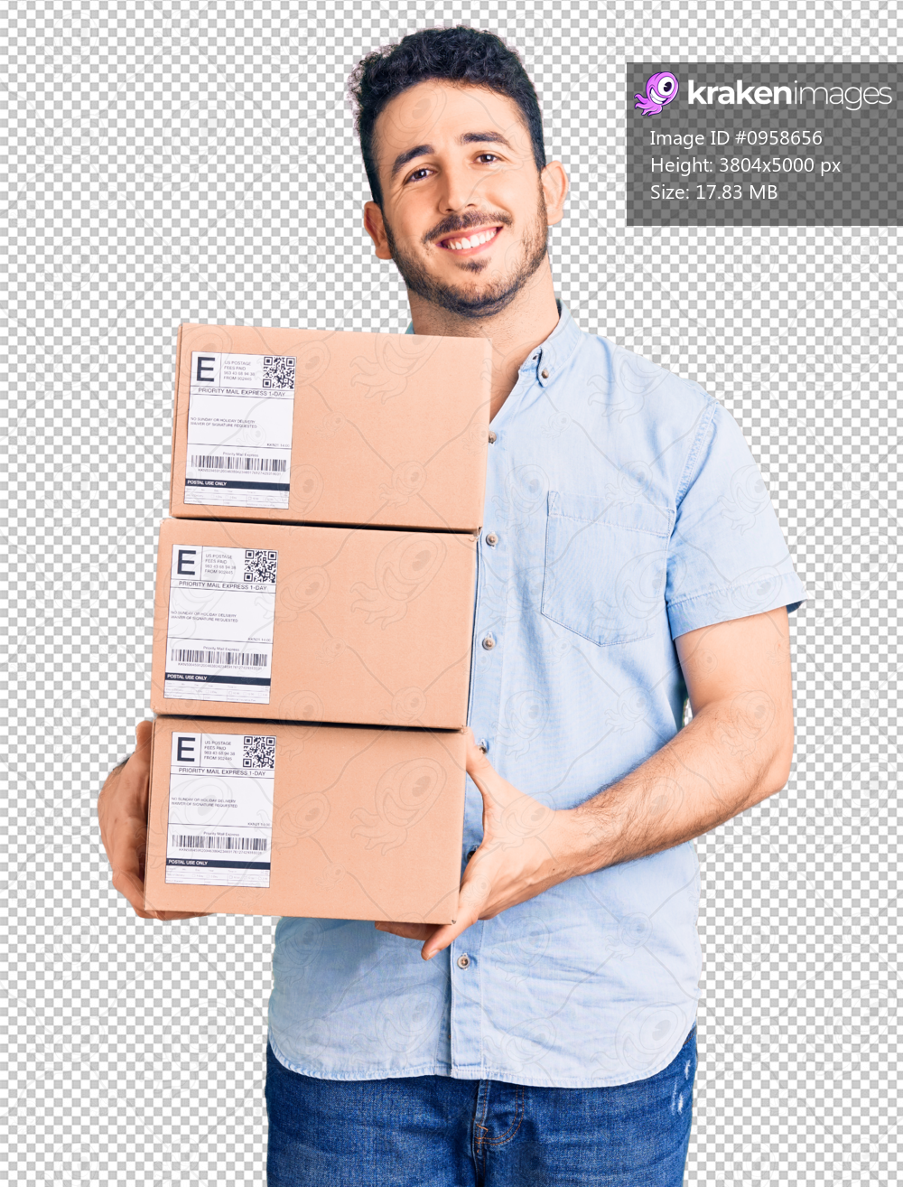Young hispanic man holding delivery package looking positive and happy standing and smiling with a confident smile showing teeth