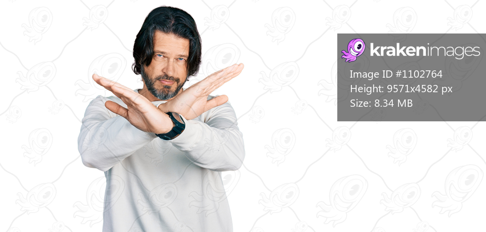 Middle age caucasian man wearing casual clothes rejection expression crossing arms and palms doing negative sign, angry face