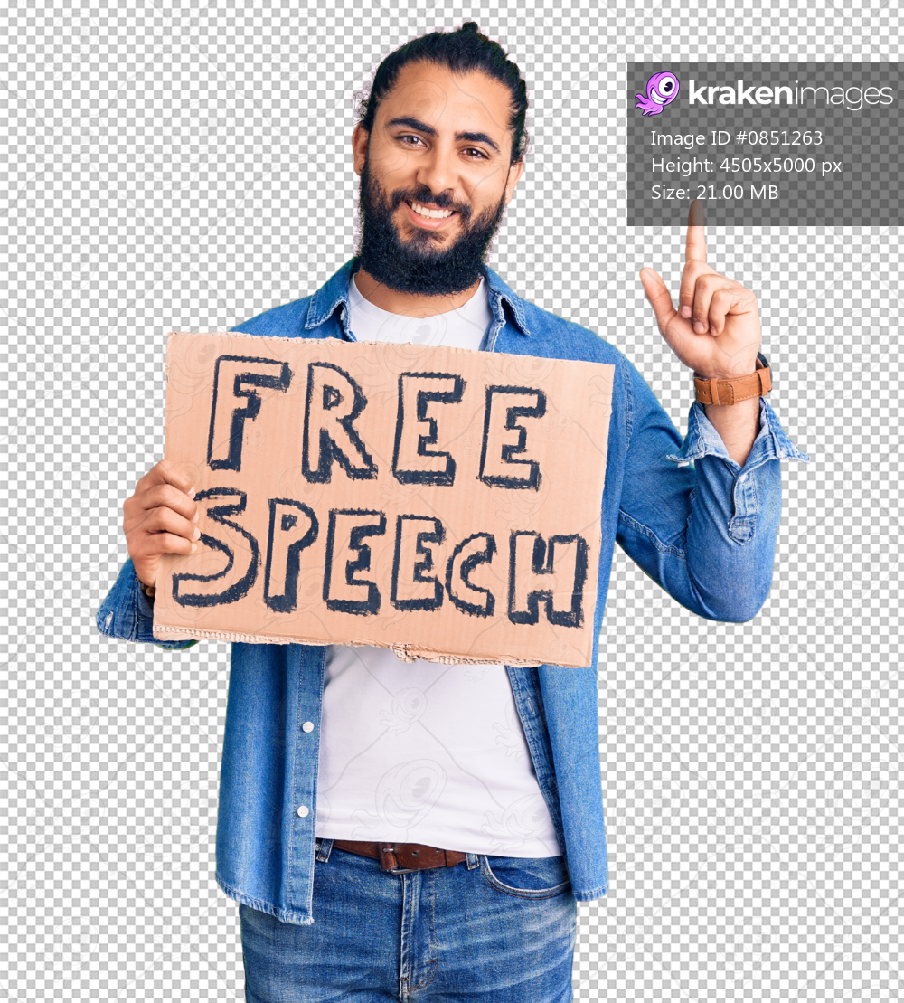 Young arab man holding free speech banner surprised with an idea or question pointing finger with happy face, number one