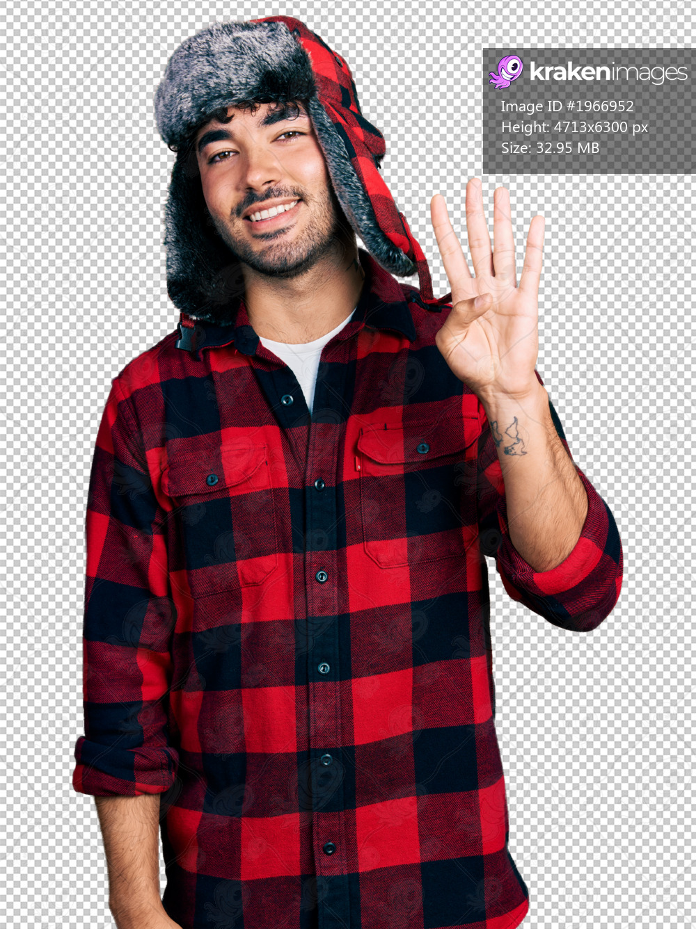 Hispanic young man with beard wearing fluffy earmuff hat showing and pointing up with fingers number four while smiling confident and happy.