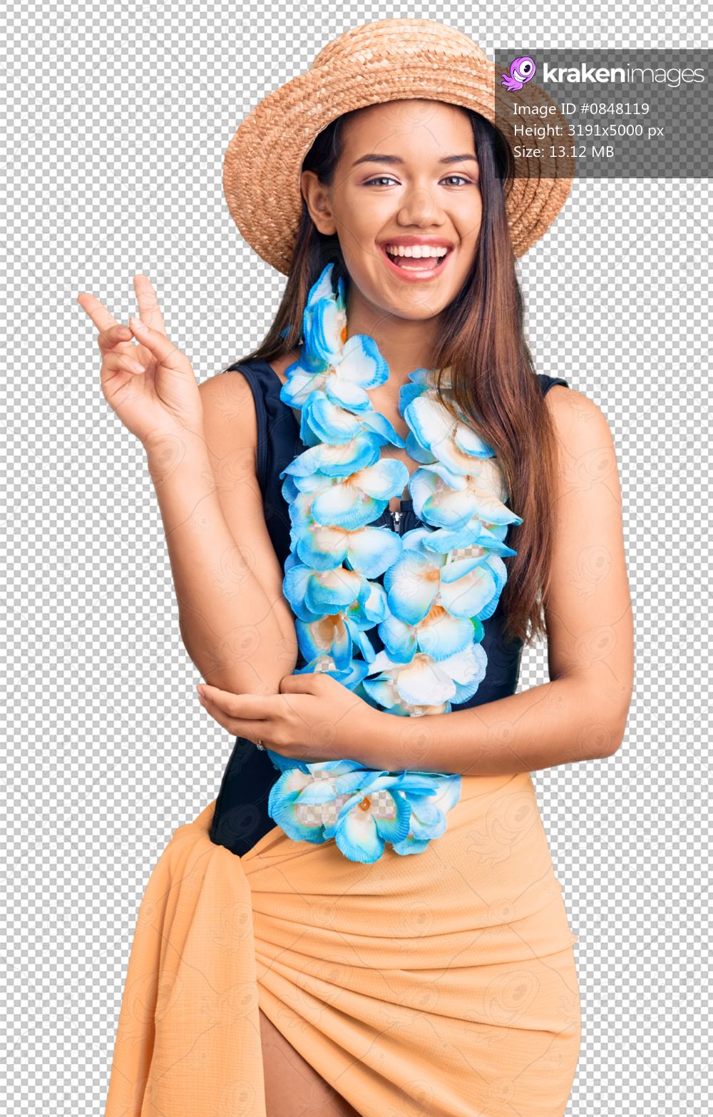 Young beautiful latin girl wearing hawaiian lei and summer hat smiling with happy face winking at the camera doing victory sign. number two.