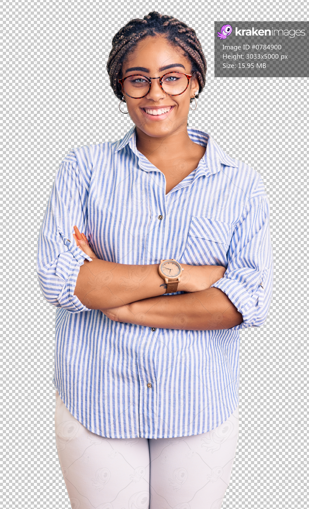 Young african american woman with braids wearing casual clothes and glasses happy face smiling with crossed arms looking at the camera. positive person.