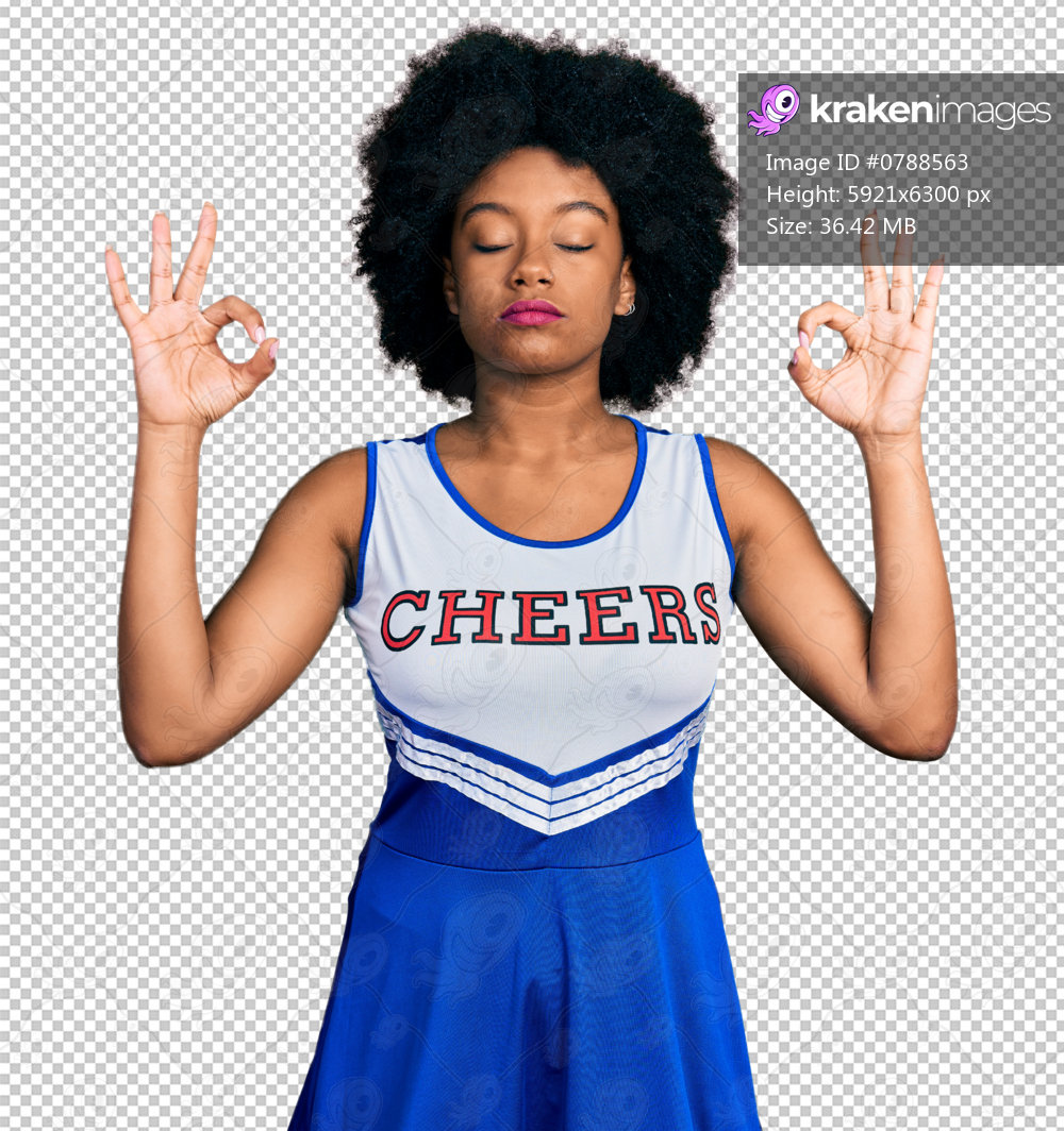 Young african american woman wearing cheerleader uniform relax and smiling with eyes closed doing meditation gesture with fingers. yoga concept.