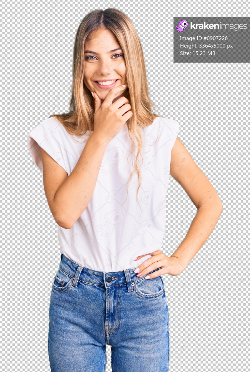 Beautiful caucasian woman with blonde hair wearing casual white tshirt looking confident at the camera smiling with crossed arms and hand raised on chin. thinking positive.