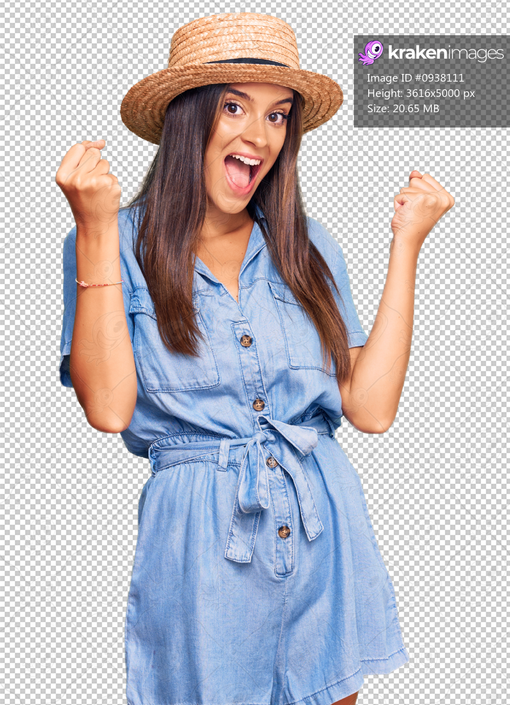 Young hispanic woman wearing summer hat screaming proud, celebrating victory and success very excited with raised arms