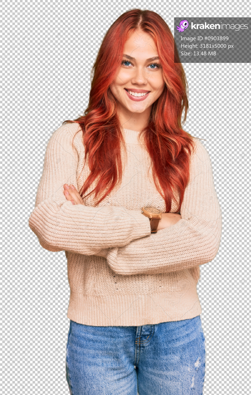 Young redhead woman wearing casual winter sweater happy face smiling with crossed arms looking at the camera. positive person.