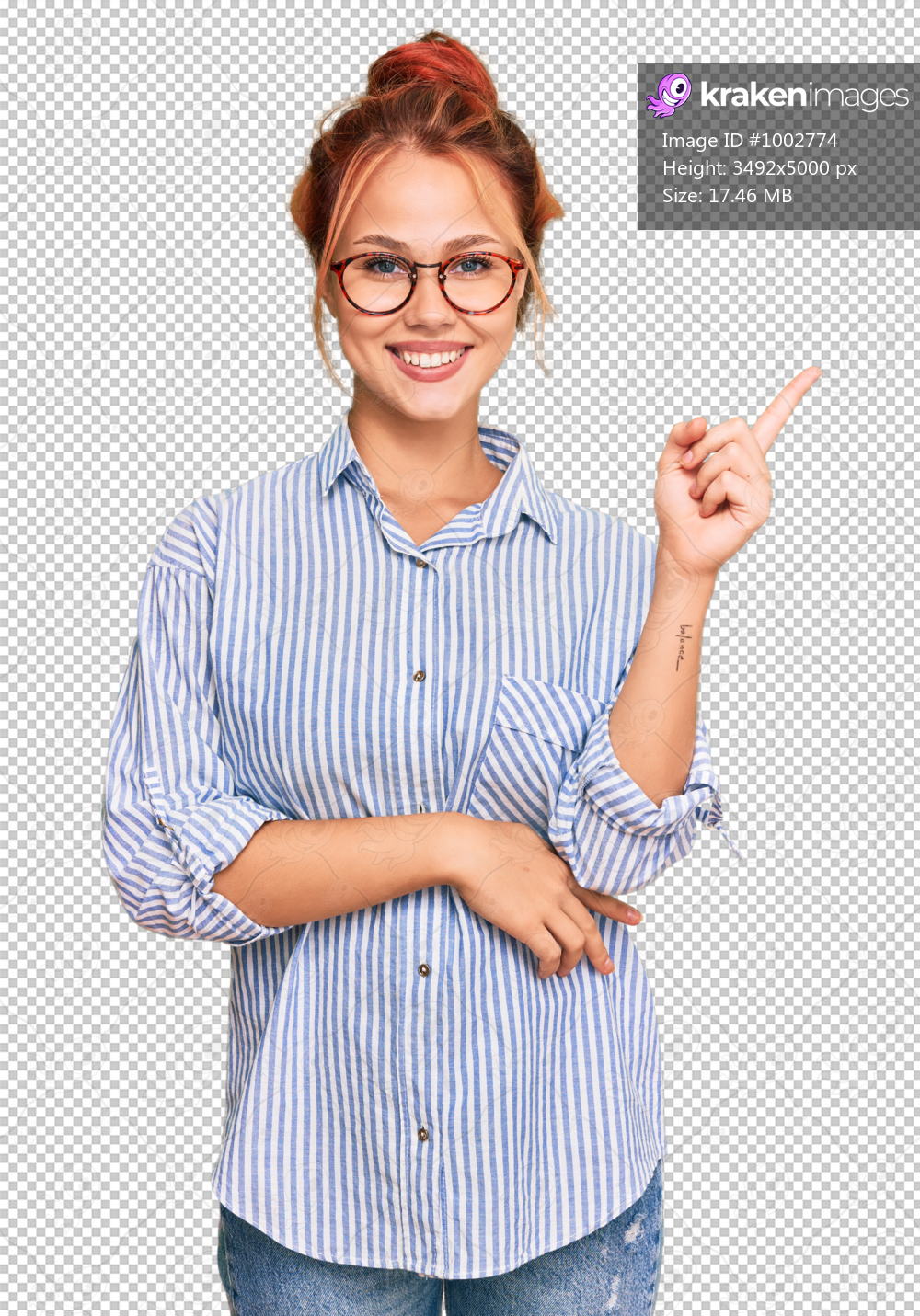 Young redhead woman wearing casual clothes and glasses smiling happy pointing with hand and finger to the side
