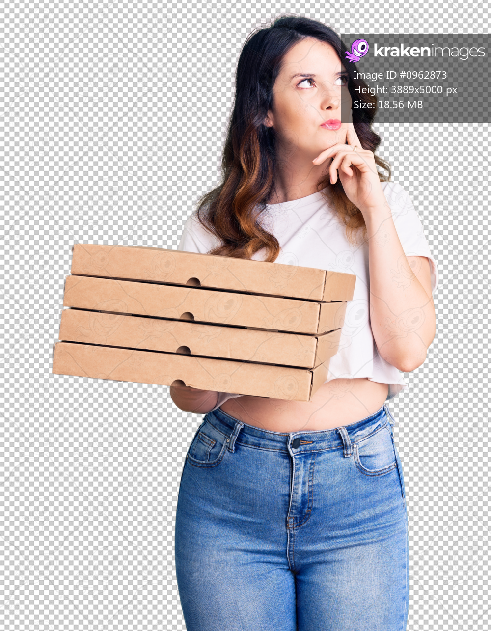 Beautiful young brunette woman holding delivery pizza box serious face thinking about question with hand on chin, thoughtful about confusing idea