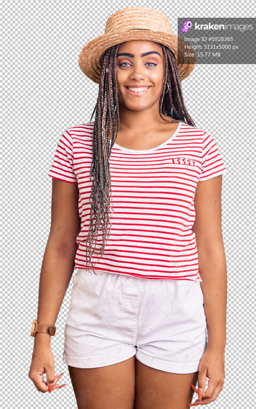 Young african american woman with braids wearing summer hat with a happy and cool smile on face. lucky person.