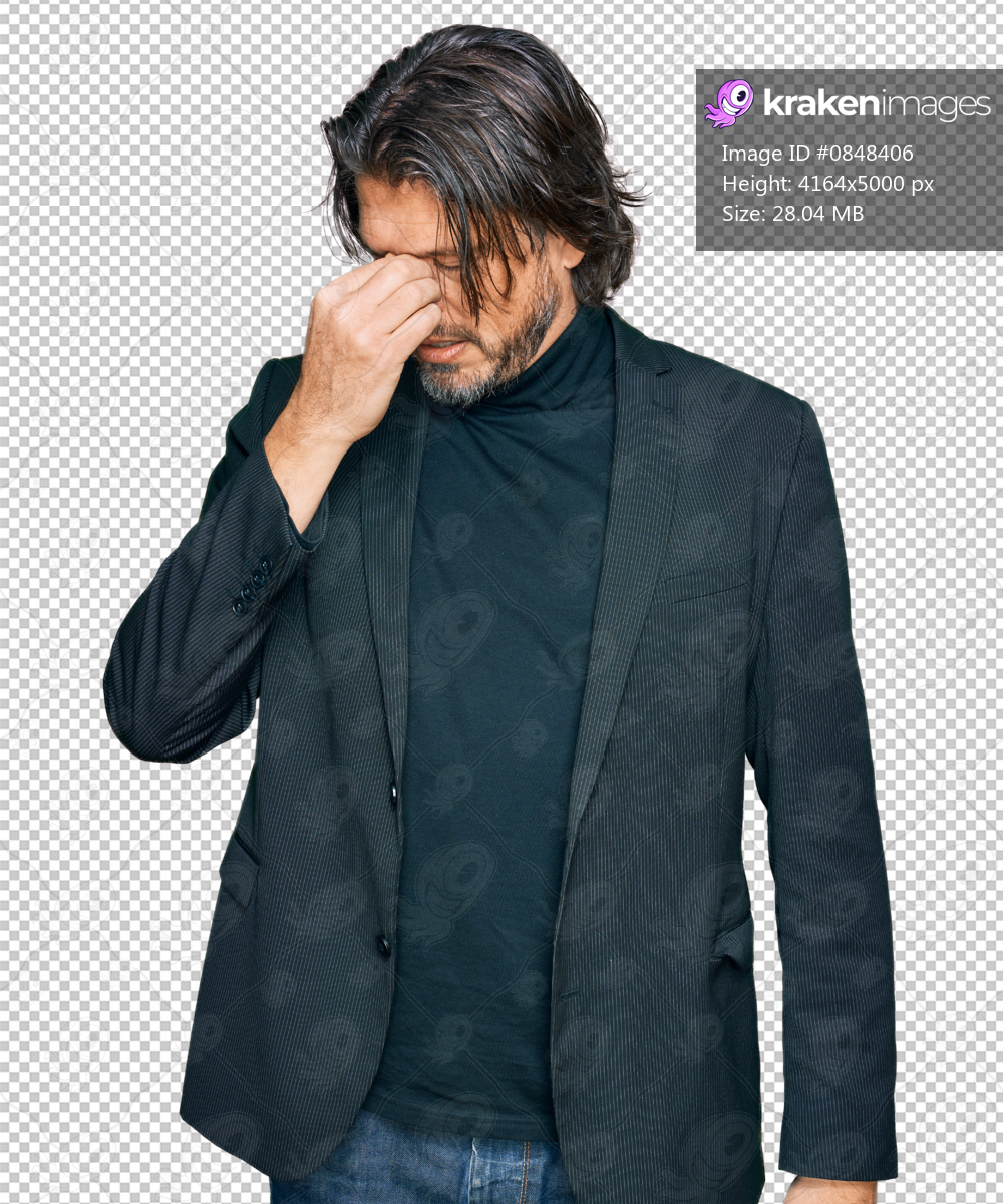 Middle age handsome man wearing business clothes tired rubbing nose and eyes feeling fatigue and headache. stress and frustration concept.