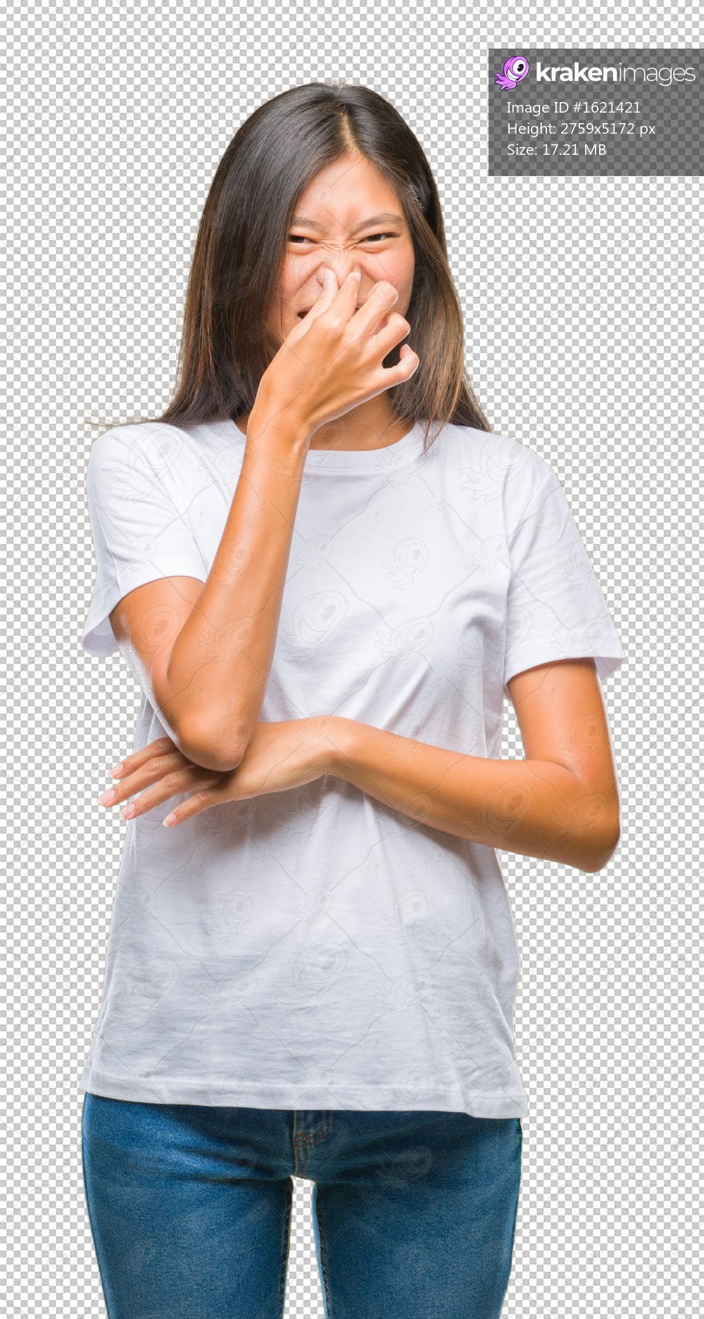 Young asian woman over isolated background smelling something stinky and disgusting, intolerable smell, holding breath with fingers on nose. Bad smells concept.