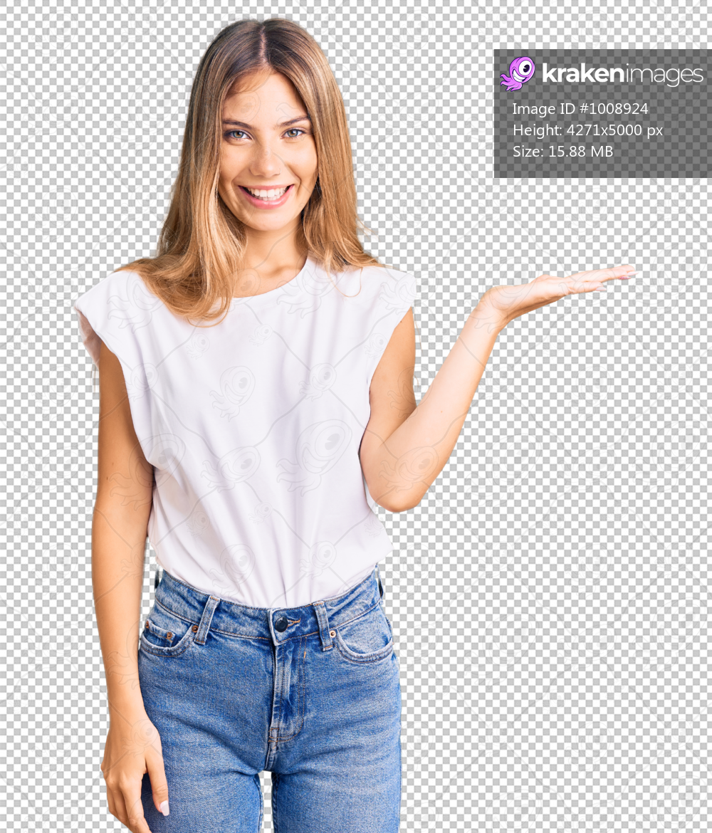 Beautiful caucasian woman with blonde hair wearing casual white tshirt smiling cheerful presenting and pointing with palm of hand looking at the camera.