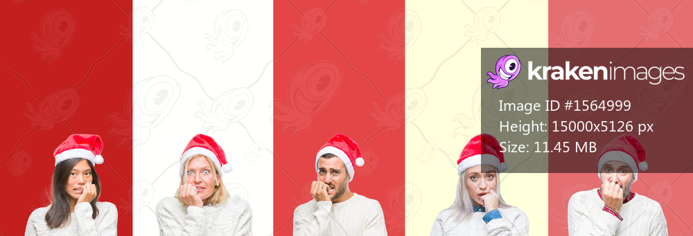Collage of group of young people wearing christmas hat over red isolated background looking stressed and nervous with hands on mouth biting nails. Anxiety problem.