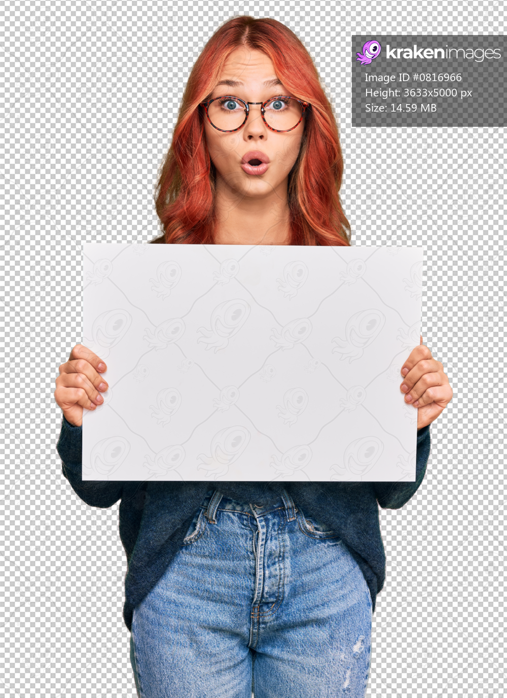 Young redhead woman holding blank empty banner scared and amazed with open mouth for surprise, disbelief face
