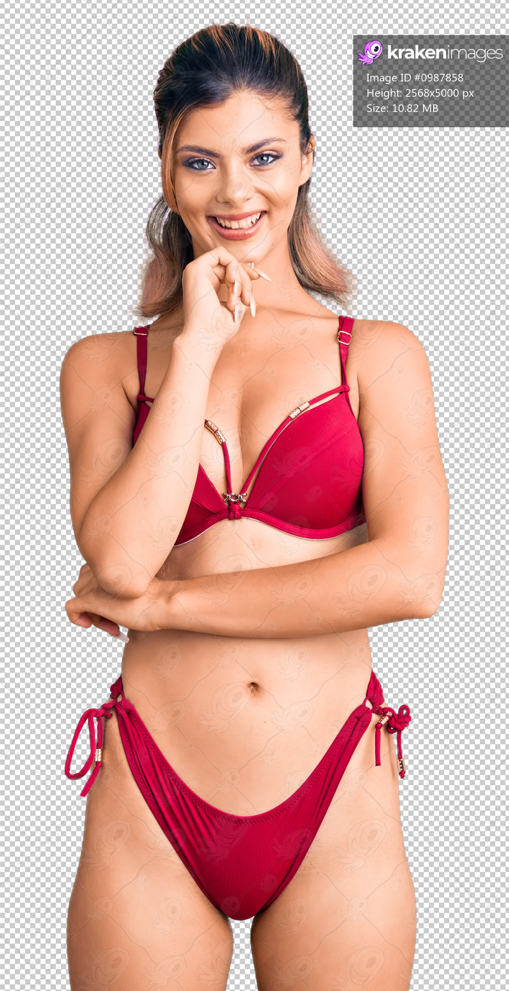Young beautiful woman wearing bikini looking confident at the camera smiling with crossed arms and hand raised on chin. thinking positive.