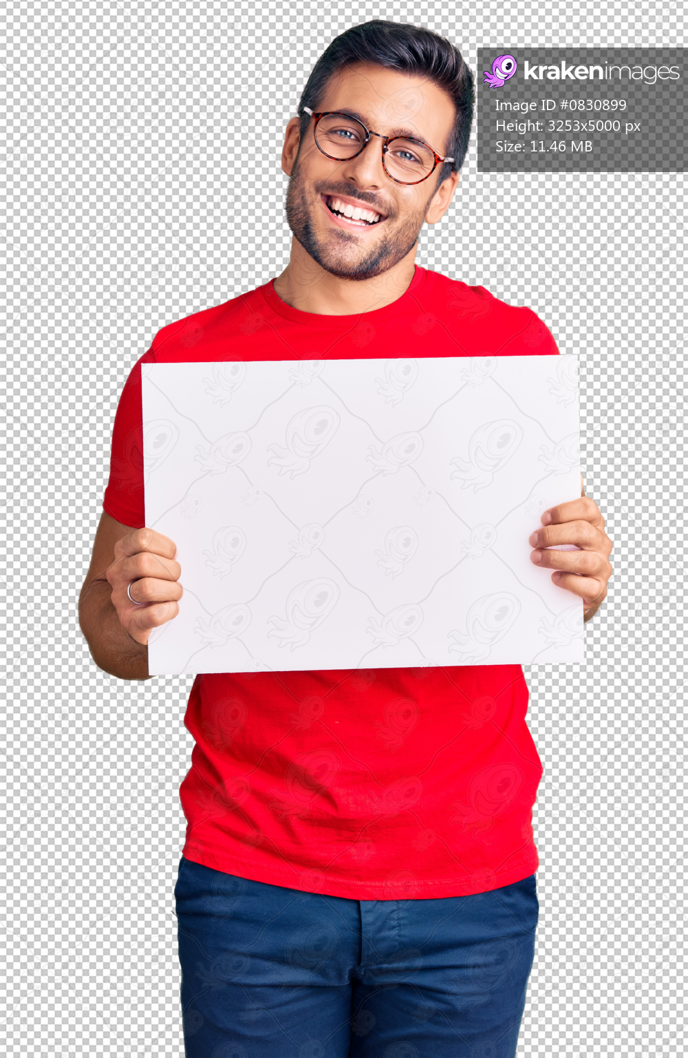 Young hispanic man holding blank empty banner looking positive and happy standing and smiling with a confident smile showing teeth