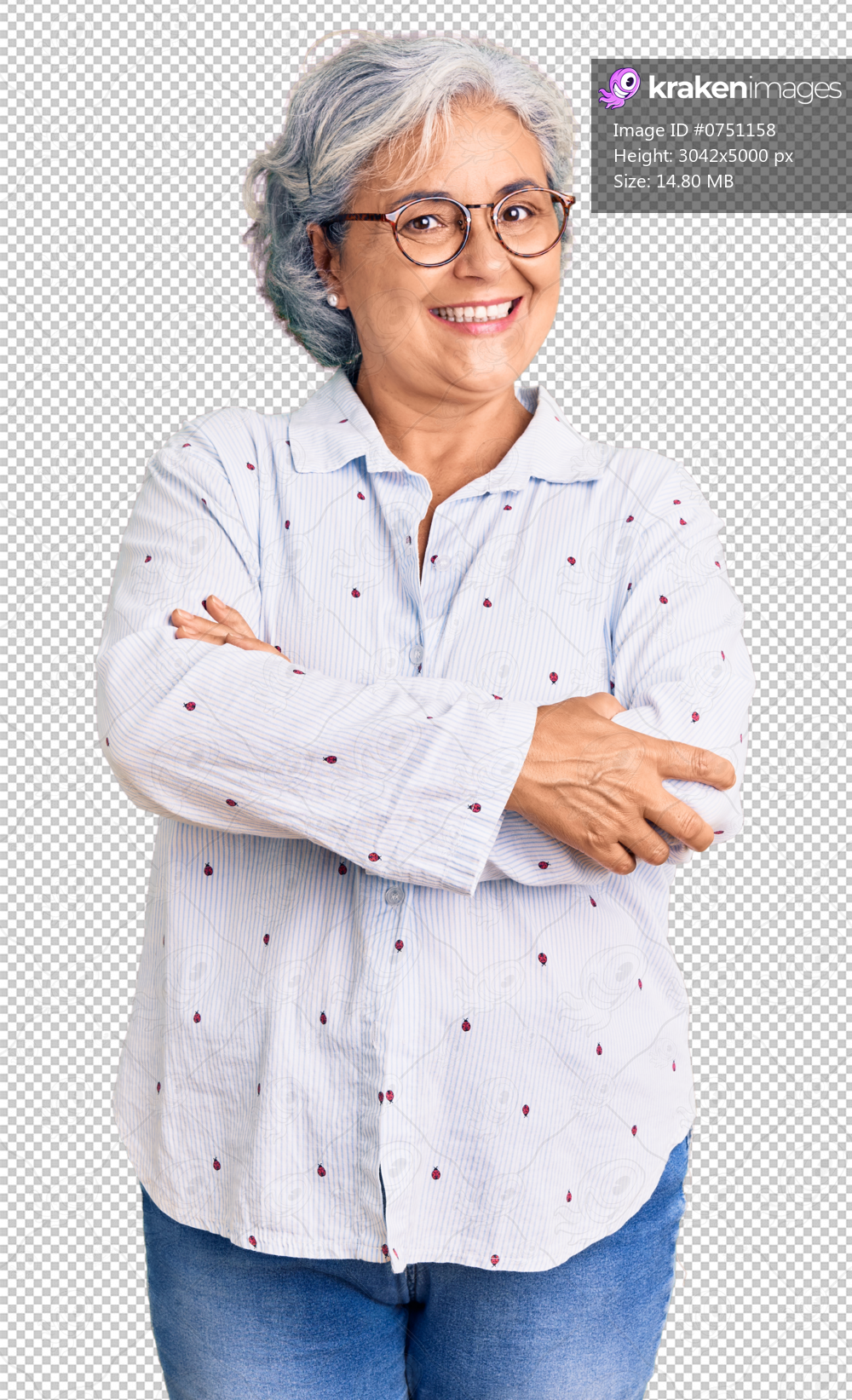 Senior woman with gray hair wearing casual business clothes and glasses happy face smiling with crossed arms looking at the camera. positive person.