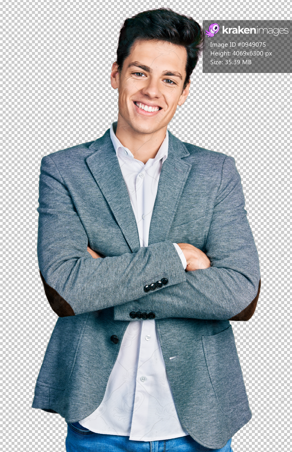 Young hispanic man wearing business clothes happy face smiling with crossed arms looking at the camera. positive person.