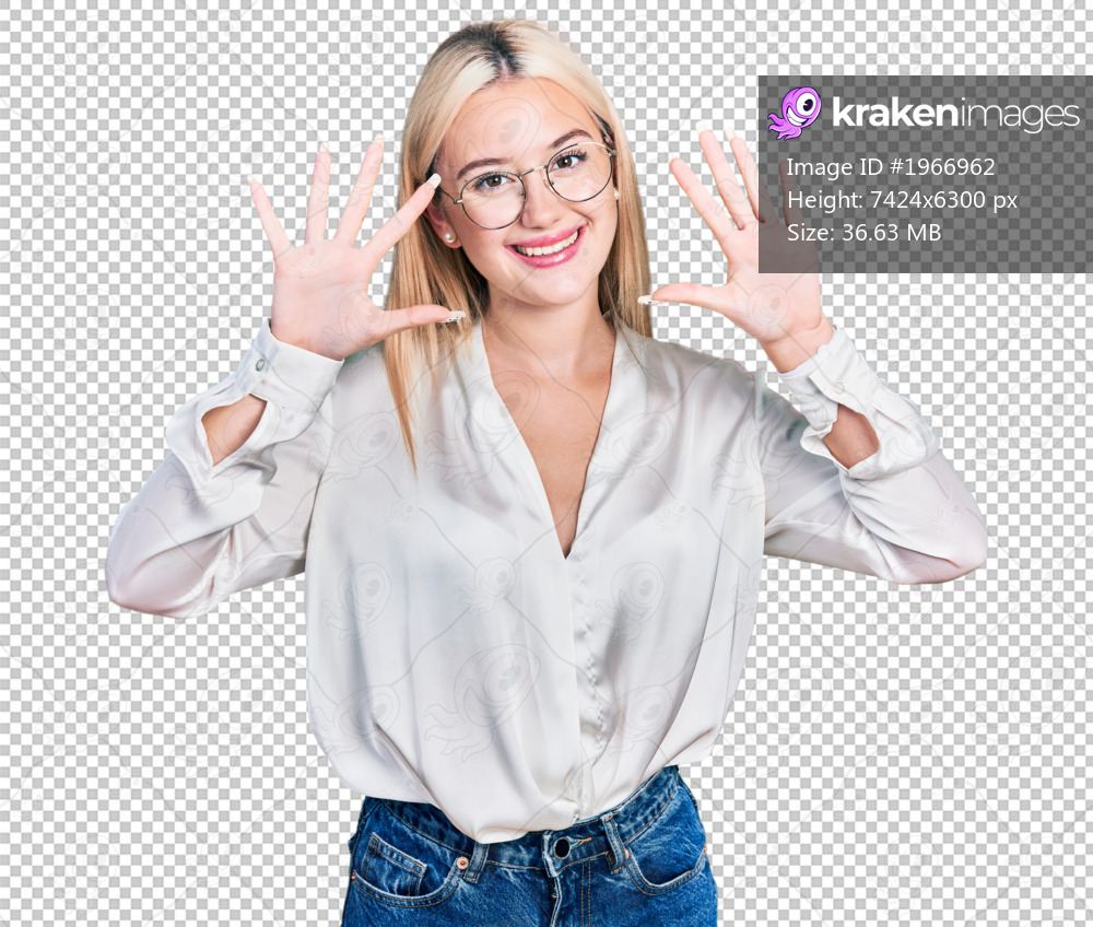 Beautiful blonde woman wearing elegant shirt and glasses showing and pointing up with fingers number ten while smiling confident and happy.
