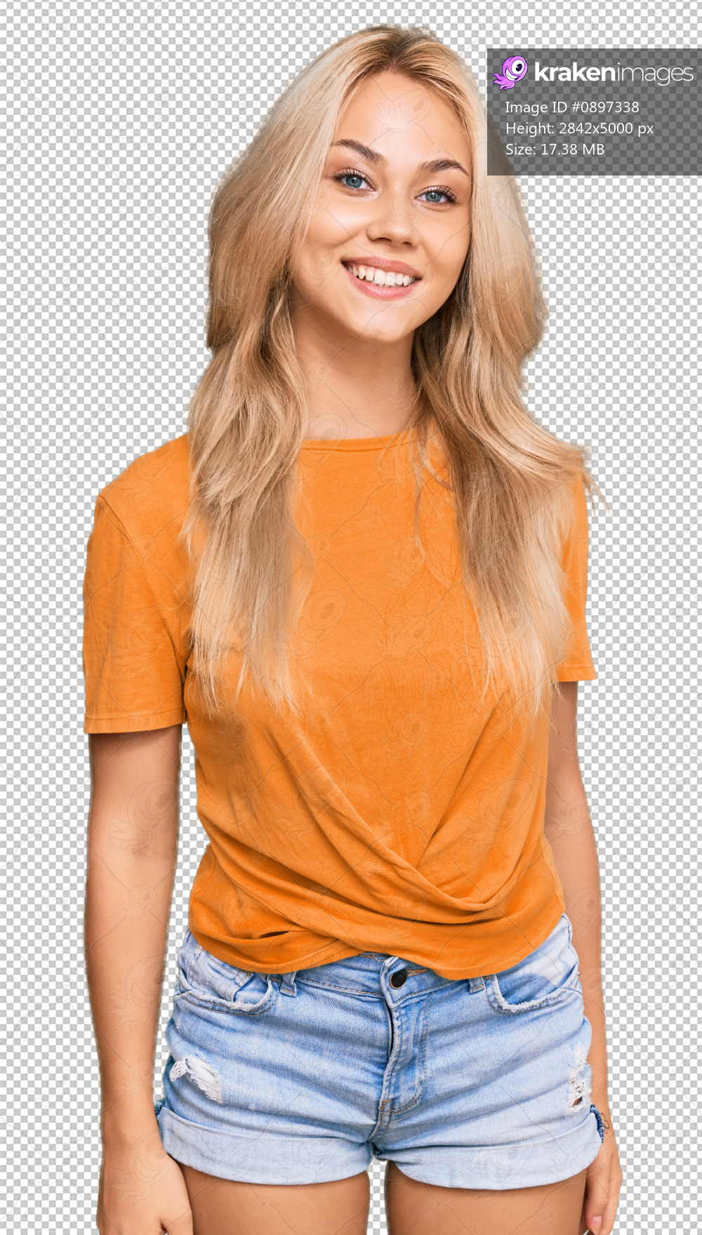 Young blonde girl wearing casual clothes looking positive and happy standing and smiling with a confident smile showing teeth