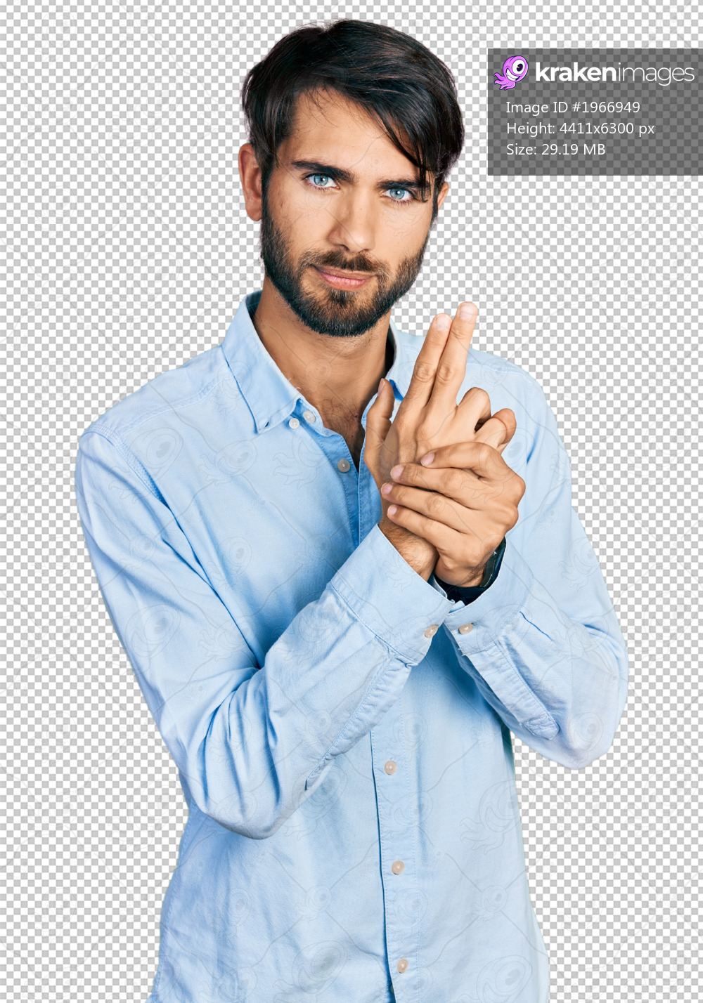 Hispanic man with blue eyes wearing business shirt holding symbolic gun with hand gesture, playing killing shooting weapons, angry face