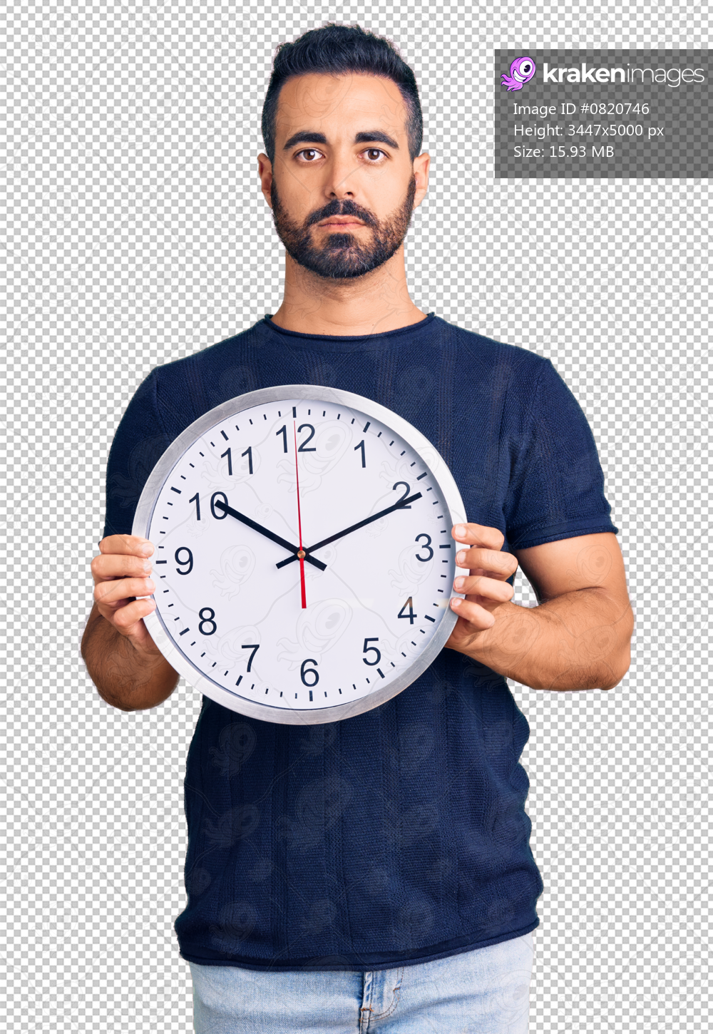 Young hispanic man holding big clock thinking attitude and sober expression looking self confident